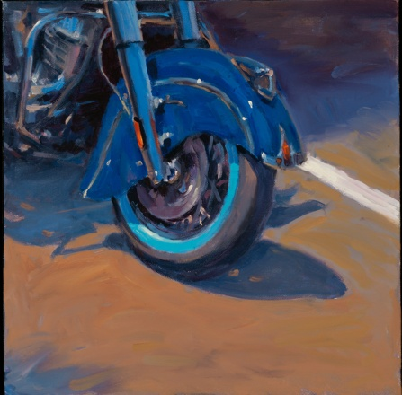 """Sun and Metal, Blue Wheel"" 12"" x 12"" oil on canvas"