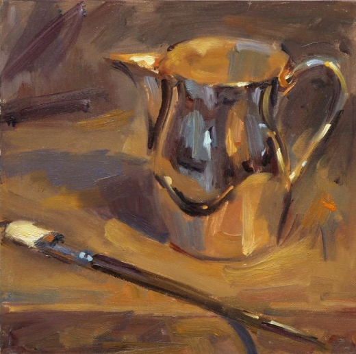 """Brush and Pitcher"" 12"" x 12"" oil on canvas"