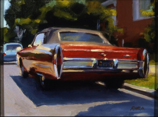 """Red Caddy"" 9"" x 12"" oil on canvas"