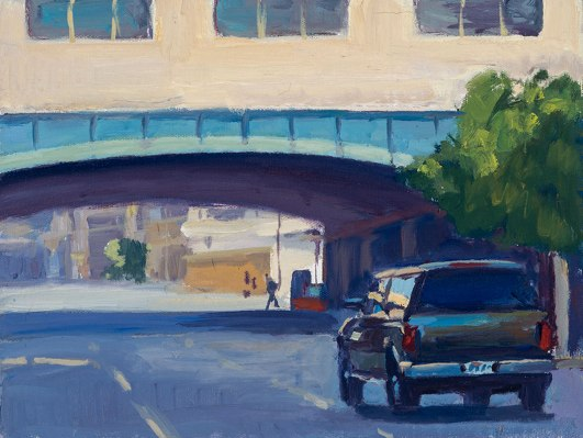 Driving Under the Bridge by 18″ x 24″, oil on canvas