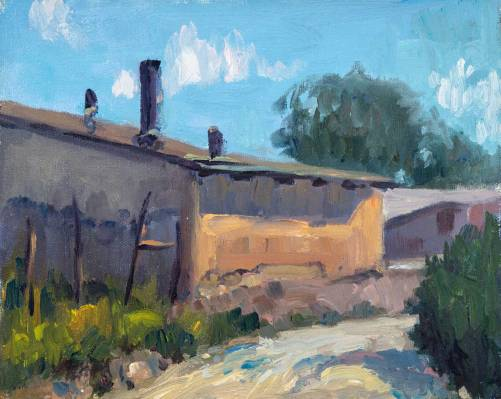 El Rancho Smithy 9″ x 12″, oil on canvas