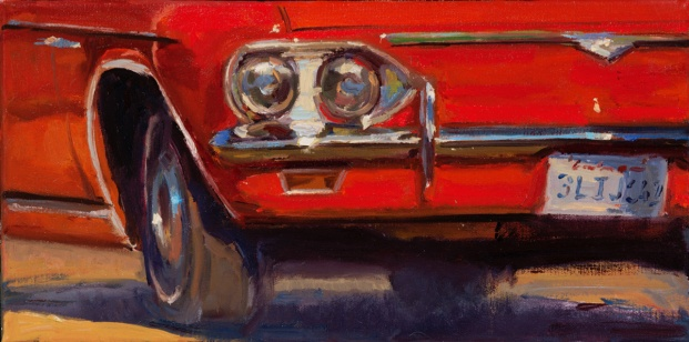"""Sun and Metal, Corvair"", 8"" x 16"" oil on canvas"