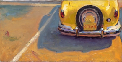 """Sun And Metal, Nash rear end 10"" x 20"" oil on canvas"